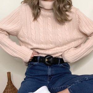 Vintage Blush Chunky Knit Turtleneck Pullover